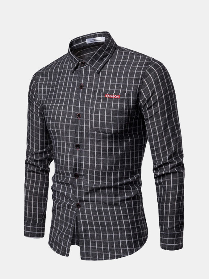 100% Cotton Casual Plaid Turn Down Collar Slim Fit Long Sleeve Shirt for Men