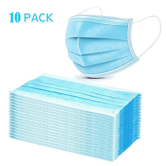 10PCS Disposable Face Masks 3 Layers Non-woven Filter Bacteria Face Masks Set