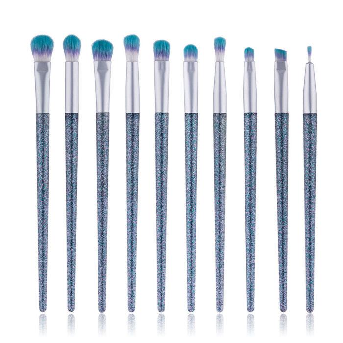 10Pcs Crystal Eye Makeup Brushes Quicksand Eyeshadow Makeup Brushes Makeup Tool