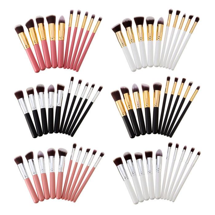 10Pcs Makeup Brushes Set Face Powder Blush Contour Foundation Cosmetic Brush