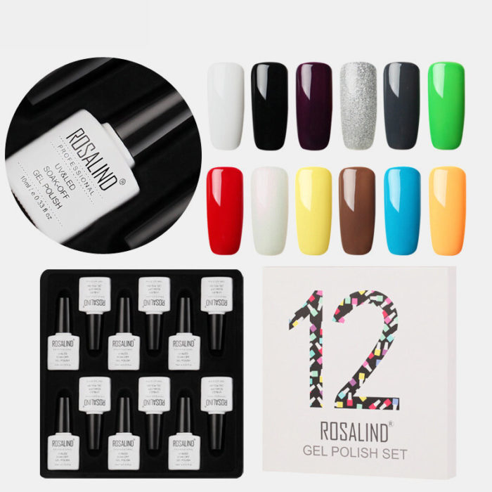 12 Color Color Gel Nail Polish Kit UV LED Semi Permanent Top Base Gel Phototherapy Gel