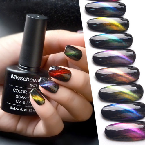 12 Colors Cat Eyes Nail Gel Color Coat Soak-Off Anti UV Needed LED Lasting Magical Nail Polish