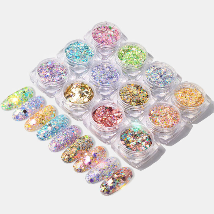 12 Colors Shining Light Onion Powder Ultra-thin Nail Glitter Sequins Colorful Irregular 3D Slices