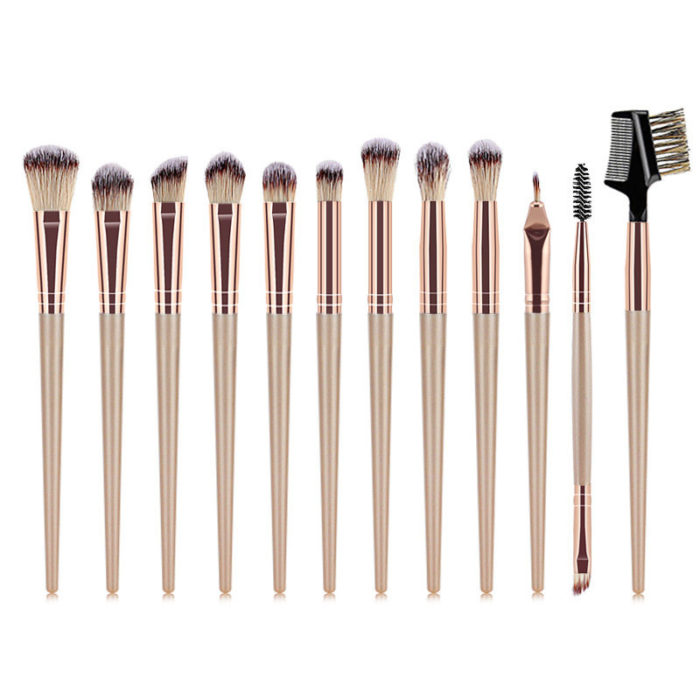 12Pcs Face Makeup Brush Set Champagne Gold Eye Makeup Lip Multifunctional Makeup Brushes