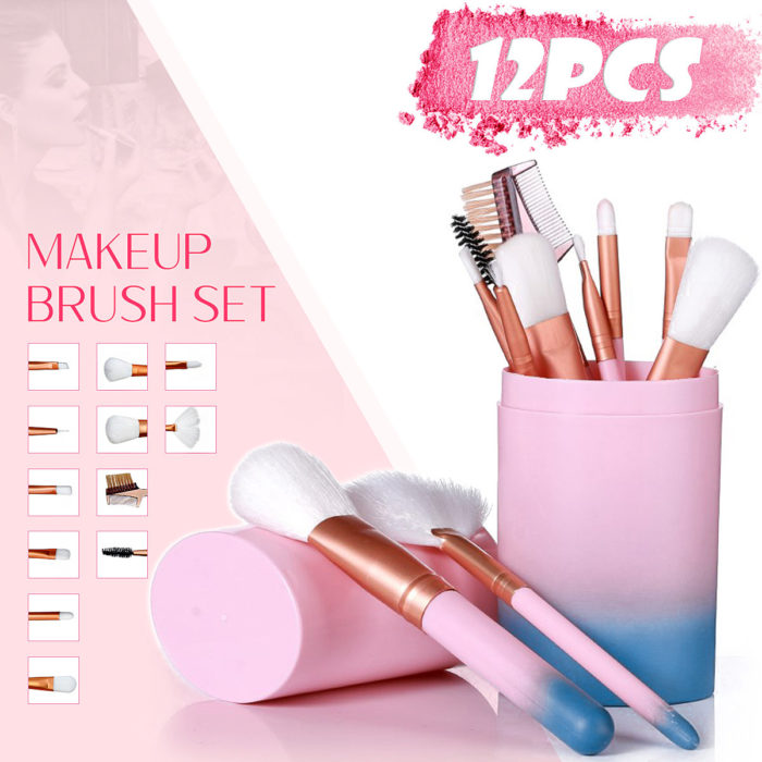 12Pcs Makeup Brushes Set Foundation Powder Eyeshadow Cosmetic Brush Tools