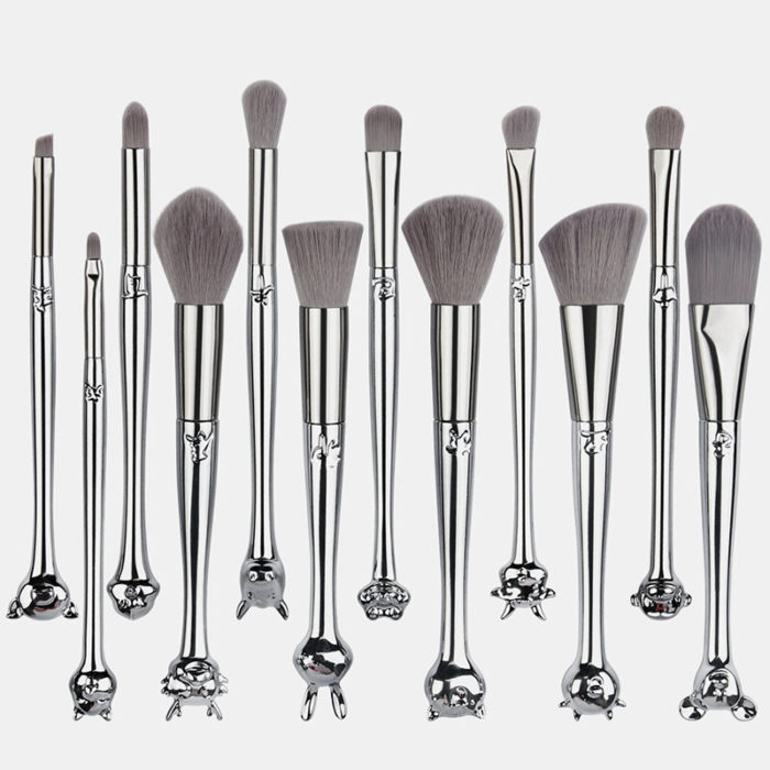 12Pcs/Kit Professional Zodiac Signs Animal Head Handle Makeup Brushes Brushes Bag Kit