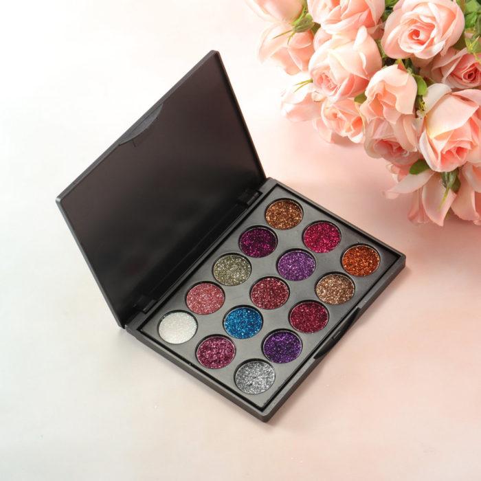 15 Colors Glitter Eyeshadow Palette Long-Lasting Glitter Eye Shadow Diamond Eyeshadow Palette