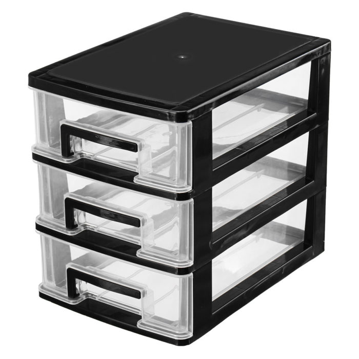 2-3 Layer Transparent Desktop Box Plastic Mini Storage Box Cosmetics Storage Box