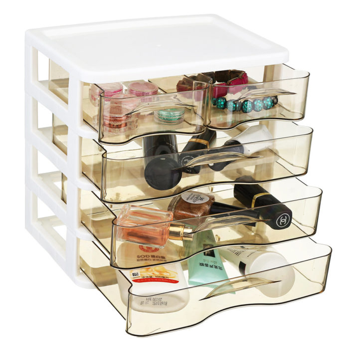 2-4 Layers Cosmetics Desktop Storage Box Office Drawer Plastic Transparent Rack