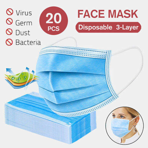 20Pcs Disposable Masks Non-woven Mouth Face Mask Set Personal Protection