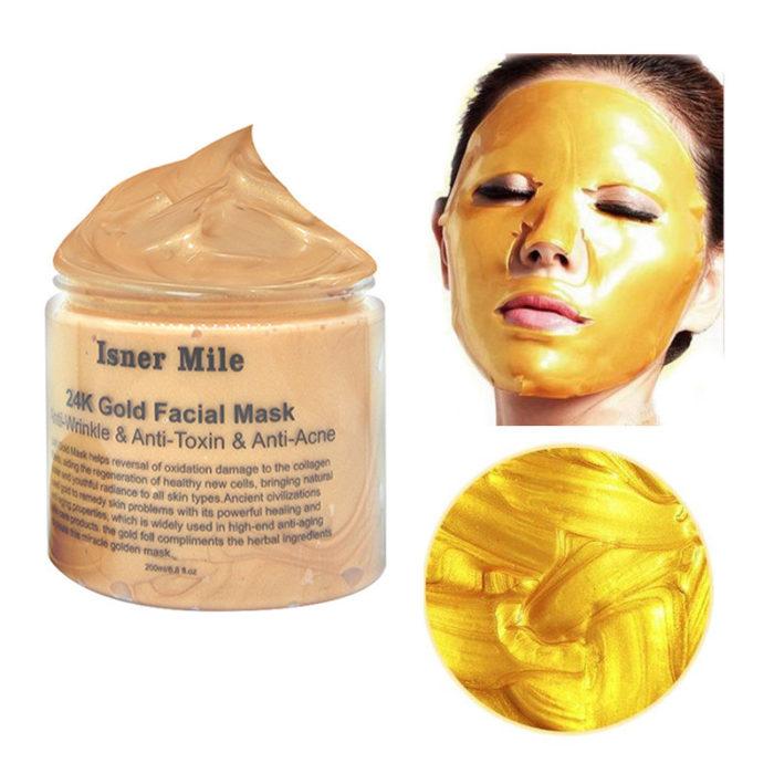24K Gold Blackhead Removal Facial Mask Nourishing Oil Control Firming Skin Gold Mask Skin Care 200ml