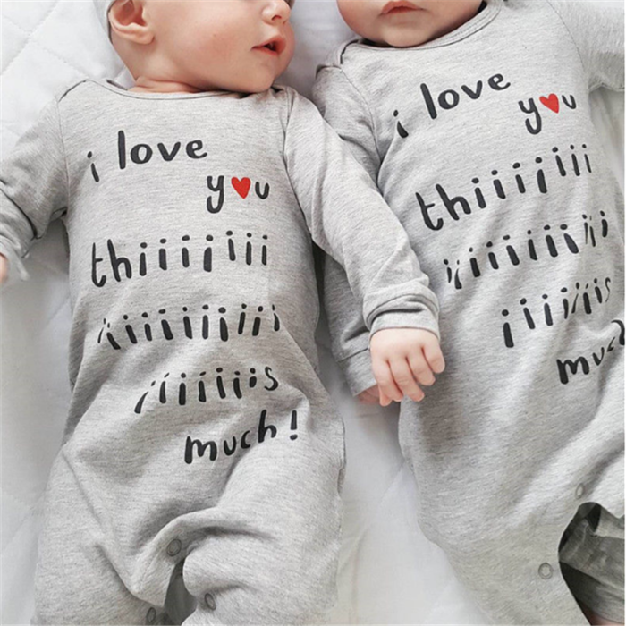 2PCs Baby Letter Print Long-sleeved Casual Pajamas Rompers For 0-24M