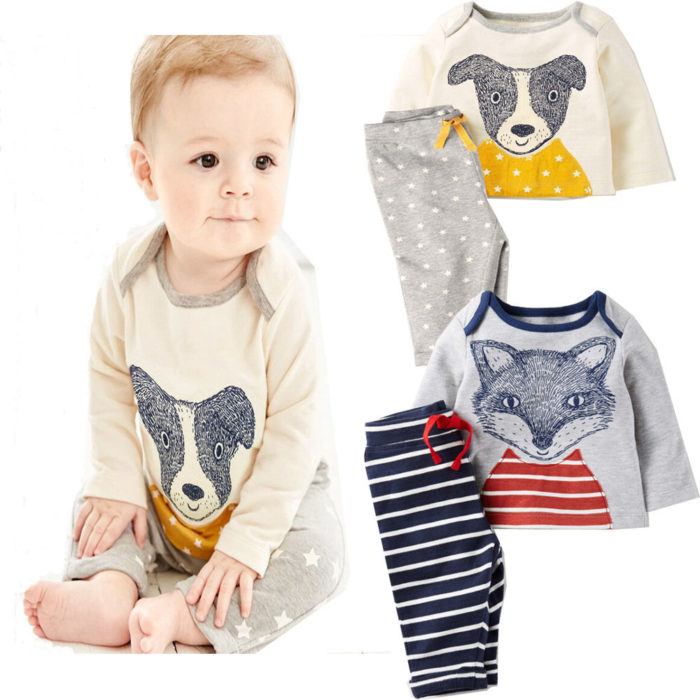 2Pcs Animal Pattern Long Sleeve Top + Pants Baby Boys Set For 0-24M