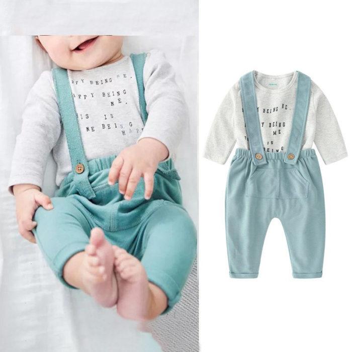 2Pcs Baby Romper + Suspender Pants Sets For 0-24M