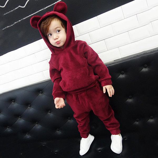 2Pcs Boys Girls Kids Comfort Pants Set Velvet Cute Animal Ear Hooded Sport Clothing Set