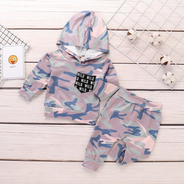 2Pcs Camouflage Print Boys Hooded Shirt +Pants Set For 6-36M