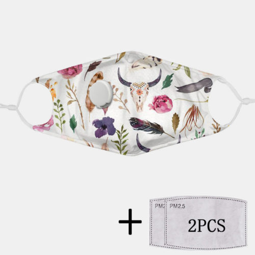 2Pcs PM2.5 Filter Antelope Non-disposable Masks With Breathing Valve Mask