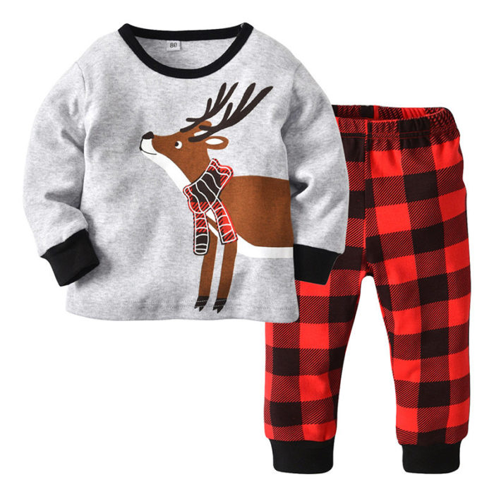 2Pcs Toddler Christmas Sets Girls Boys Pajamas Set For 1Y-7Y