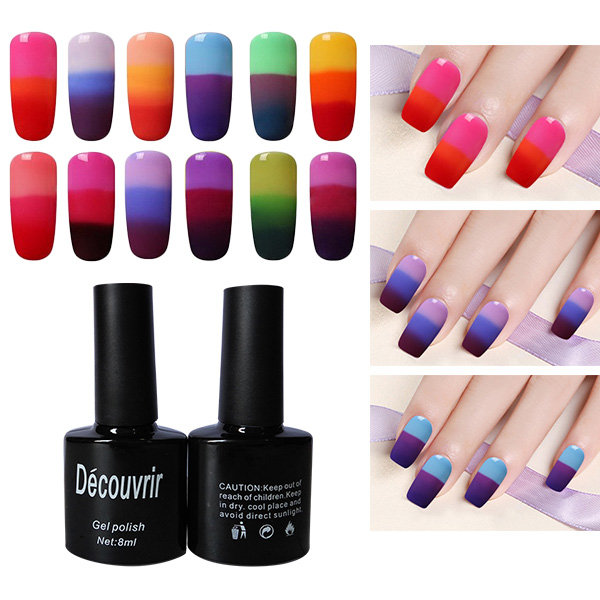 3 Colors Temperature Changing Thermal Nail Gel Polish Soak Off Nails Lacquer UV LED Lamp