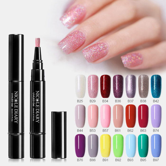 3 In 1 Gel Nail Varnish Pen Glitter One Step Nail Art Gel Polish 74 Colors Easy To Use UV Gel