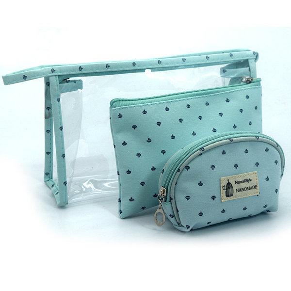 3 Pieces Set Women Transparent PVC Makeup Bags Travel Cosmetic Bag Waterproof Handbag Organizer