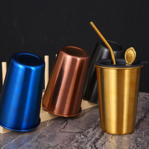 304 Stainless Steel Beer Mug Bar Cold Drink Coffee Titanium-Plated Milk Tea Straw Cup Ins Tableware