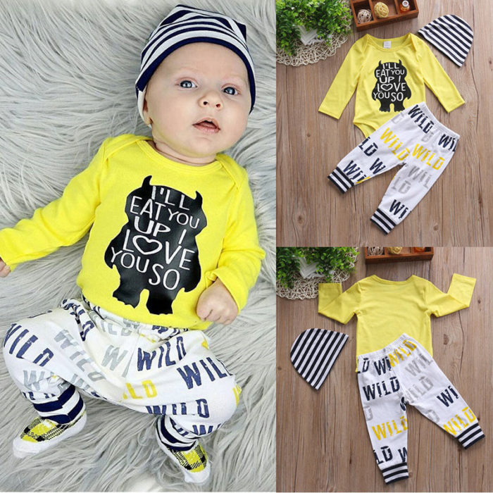 3Pcs Monster Print Baby Long Sleeve Romper Pants Set For 0-24 Months