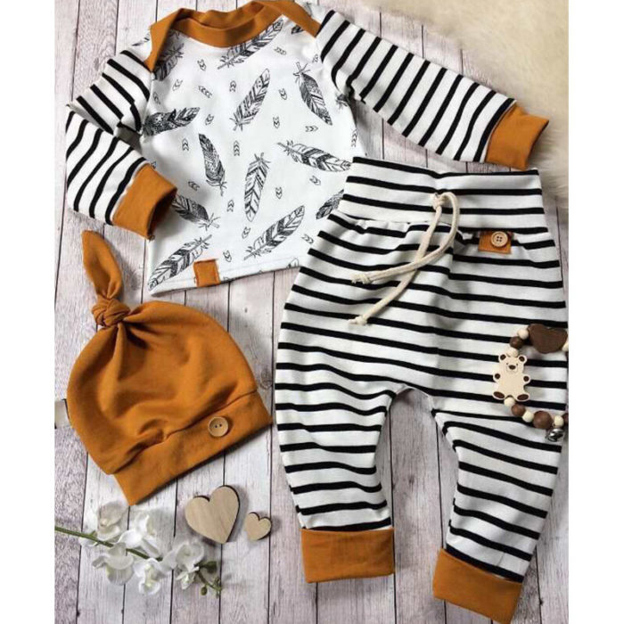 3Pcs Printed Baby Romper Pants Clothing Set For 0-24 Months