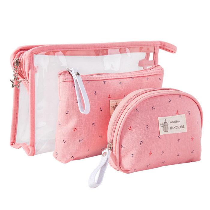 3Pcs Transparent Women's Cosmetic Bag Set Travel Waterproof Washing Bag Makeup Storage Bag