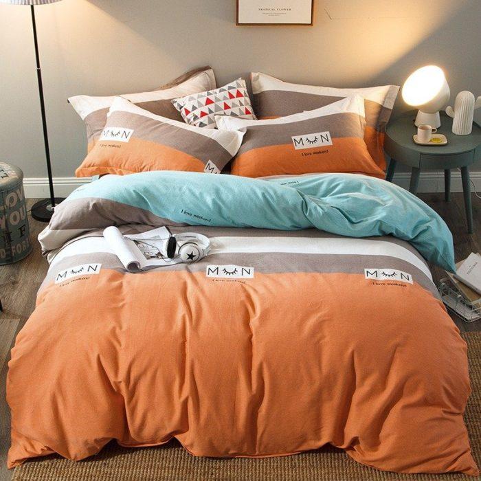 4Pcs 100% Cotton Thicken Bedding Set King Queen Full Duvet Quilt Cover Bed Sheet Pillowcase