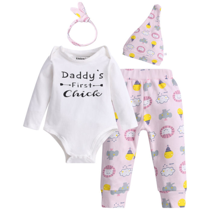 4Pcs Baby Cotton Comfy Romper Pants Set For 0-24M