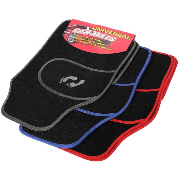 4pc Universal Car Floor Mat Front Rear PVCCarpet Non-Slip GRIP Feet Pattern