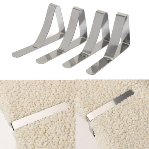 4pcs Stainless Steel Tablecloth Clips Table Cover Holder Wedding Party Picnic Clamp