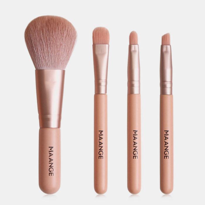 4pcs/Kit Mini Makeup Brush Kit Eye Shadow Brush Lip Brush Eyebrow Brush Blusher Brush Makeup Beauty Tool