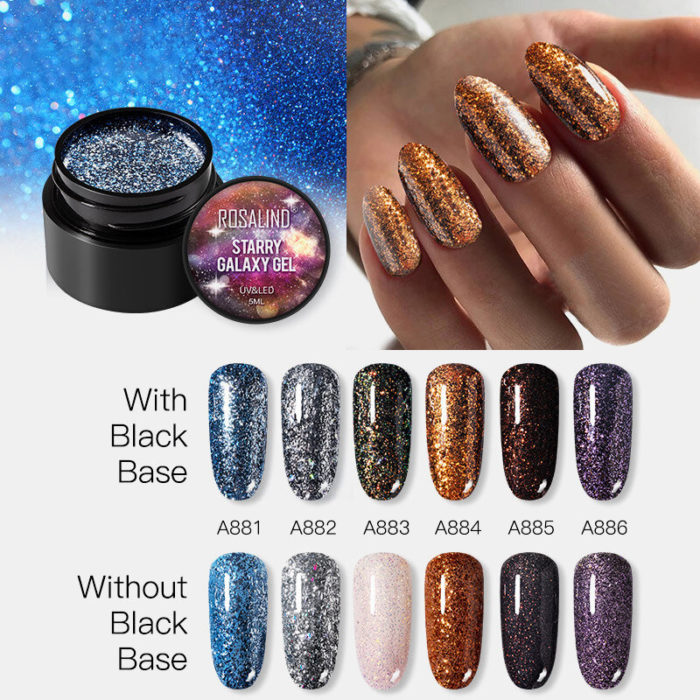 5ml Starry Galaxy Nail Polish Gel Platinum Flash Drilling Color Phototherapy Gel
