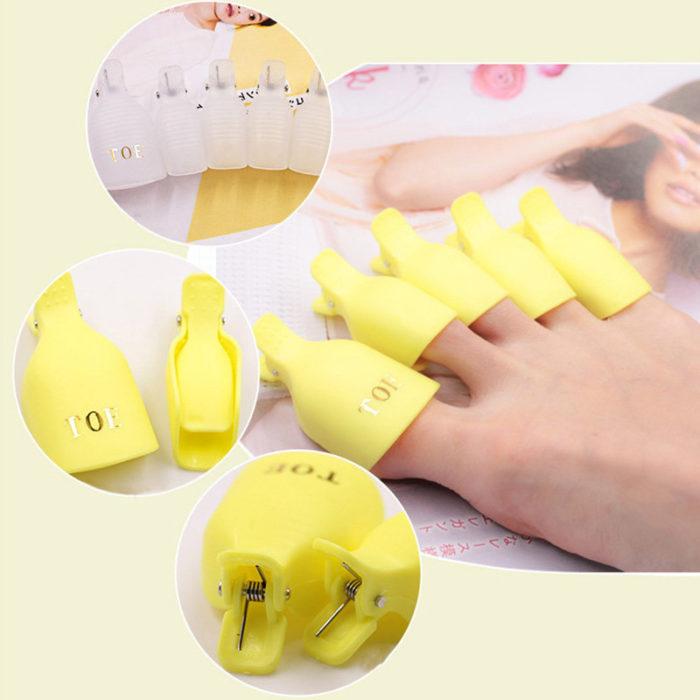 5pcs Plastic Toe Soak Off Cap Clip Remove Nail Gel Polish Clip Fixed Nail Cotton For Nail Art Tool