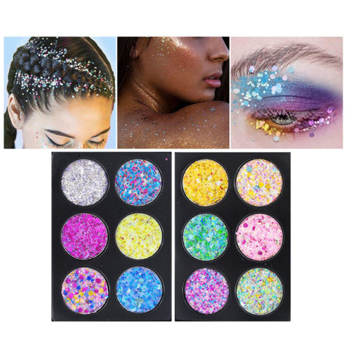 6 Colors Glitter Sequin Eye Makeup Platte Face Eye Makeup Glitter Stickers