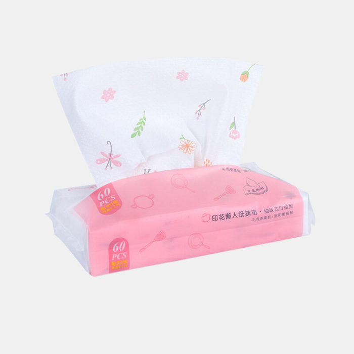 60 Pumping / Pack Printed Disposable Non-Woven Cloth Extraction Wet And Dry Wipes Kitchen Towels
