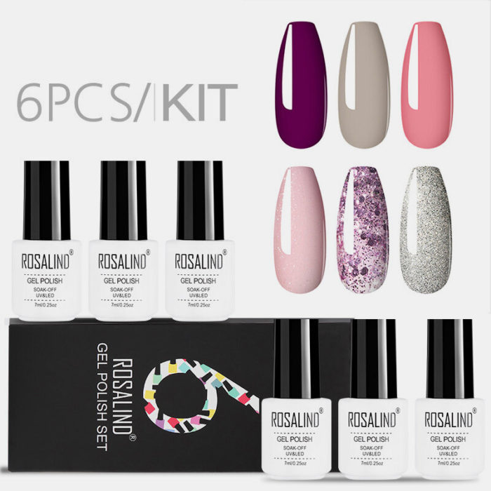 6PCS Gel Nail Polish Set Solid Color Nail Kit For Manicure Vernis Semi Permanent 7ML Gel Kit Top And Base All For Manicu