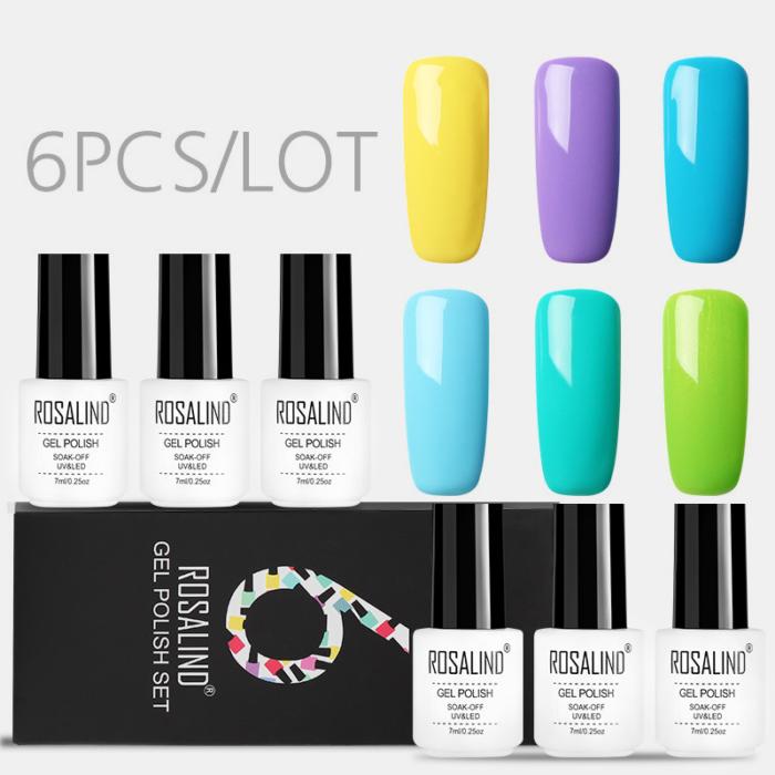 6Pcs/Kit Nail Polish Gel Kit Solid Color Boxed Nail Gel DIY Nail Art UV LED Colorful Gel