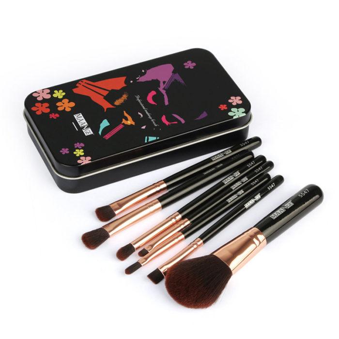 7Pcs Makeup Brush Set Portable Iron Box Face Foundation Eyeshadow Lip Makeup Brushes Cosmetic Tool