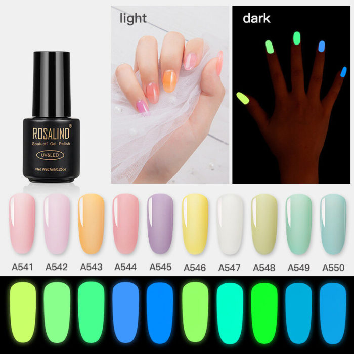 7ml Nail Luminous Gel Manicure Glitter Fluorescent Glue DIY Nail Art Gel Polish