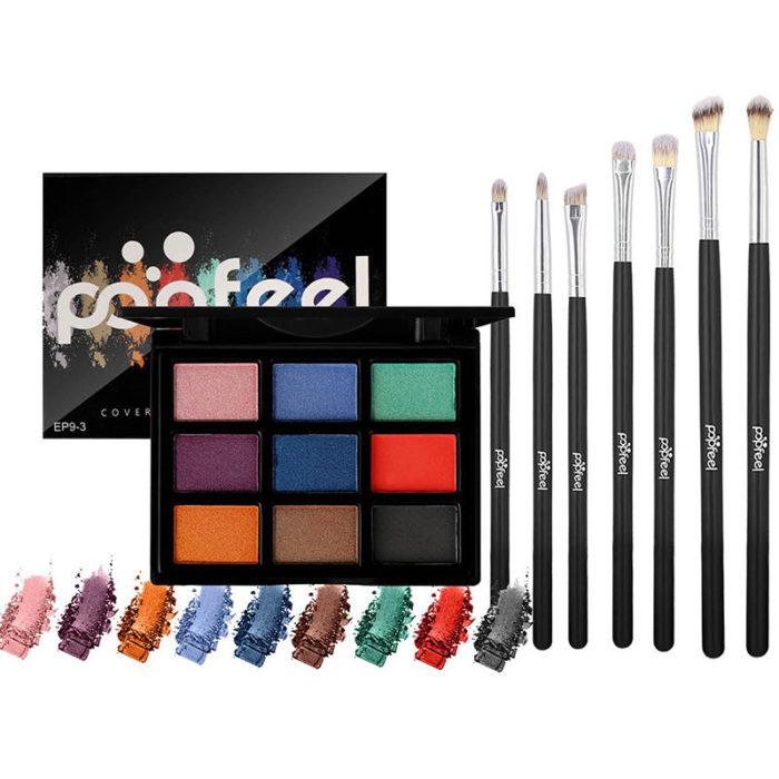 9-Color Eyeshadow Palette 7 Eye Shadow Brush Makeup Set Matte Pearlescent Earth Color Eye Shadow