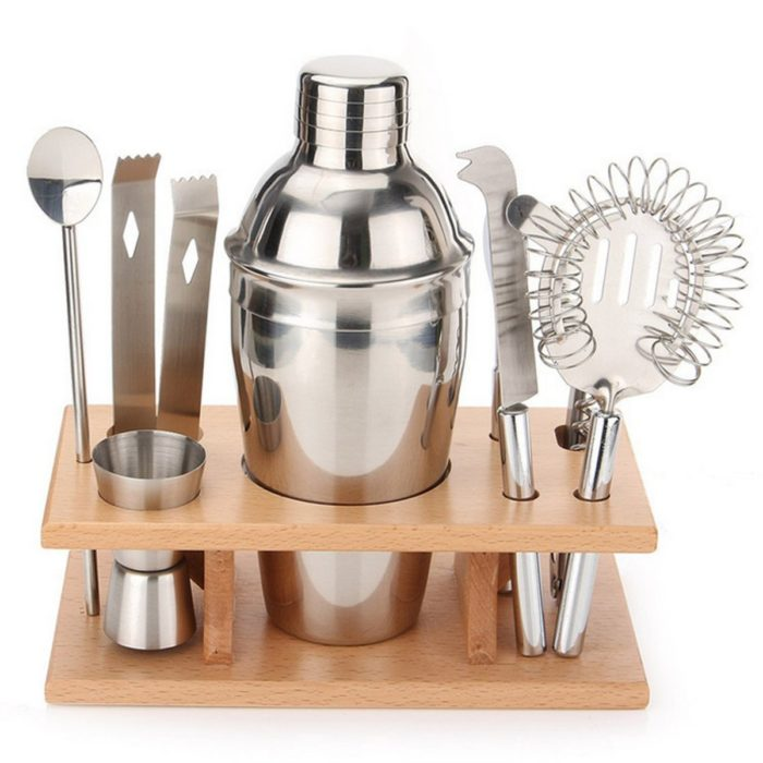 9Pcs DIY Stainless Steel Cocktail Shakers Mixer Drink Bartender Martini Bar Set Tools Kit