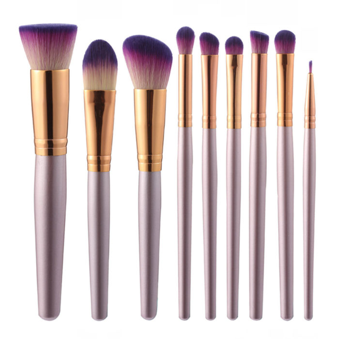 9Pcs Soft Makeup Brushes Set Blend Foundation Eye Shadow Powder Lips Liner Cosmetics Tool