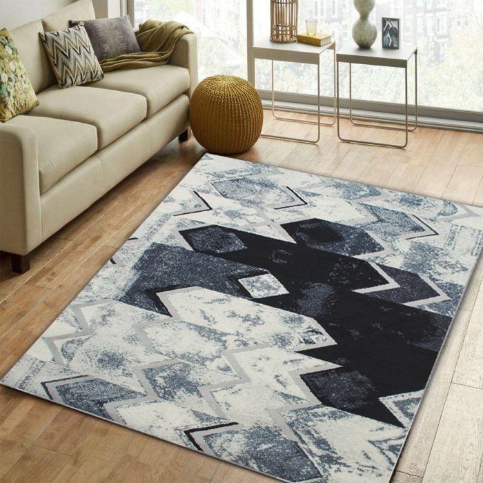 Abstract Modern Black Grey Silver Floor Carpet Rug Mat For Living-room Bedroom