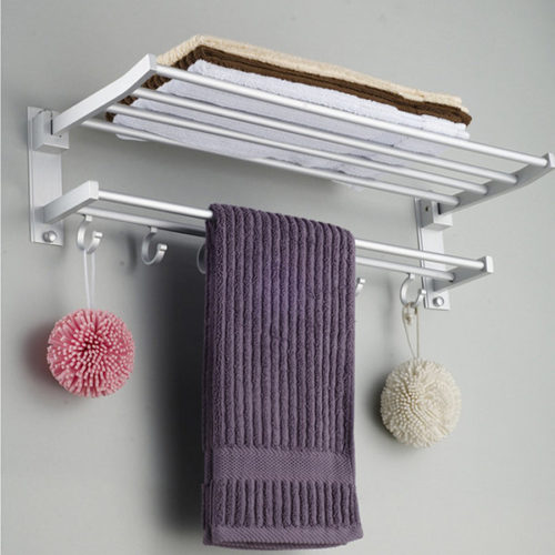 Aluminum Bathroom Towel Rack Polished Wall Mounted Towel Rail With 5Hooks Hanger