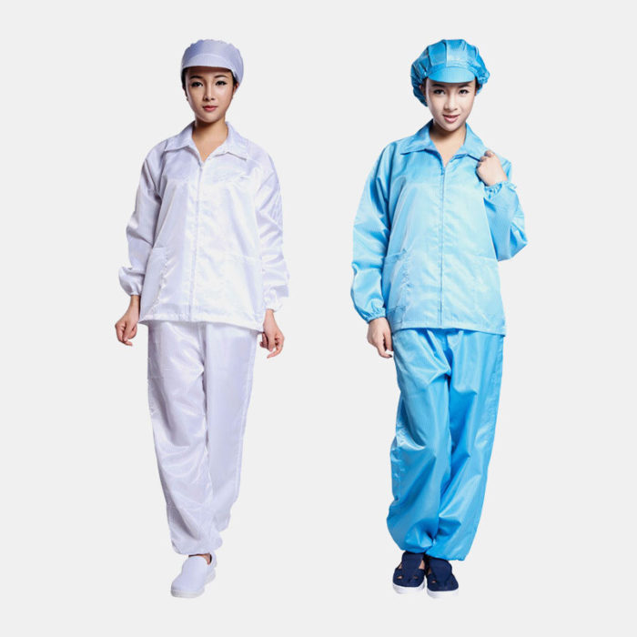 Anti-static Work Clothes White Blue Coat Clean Work Clothes Protective Suit