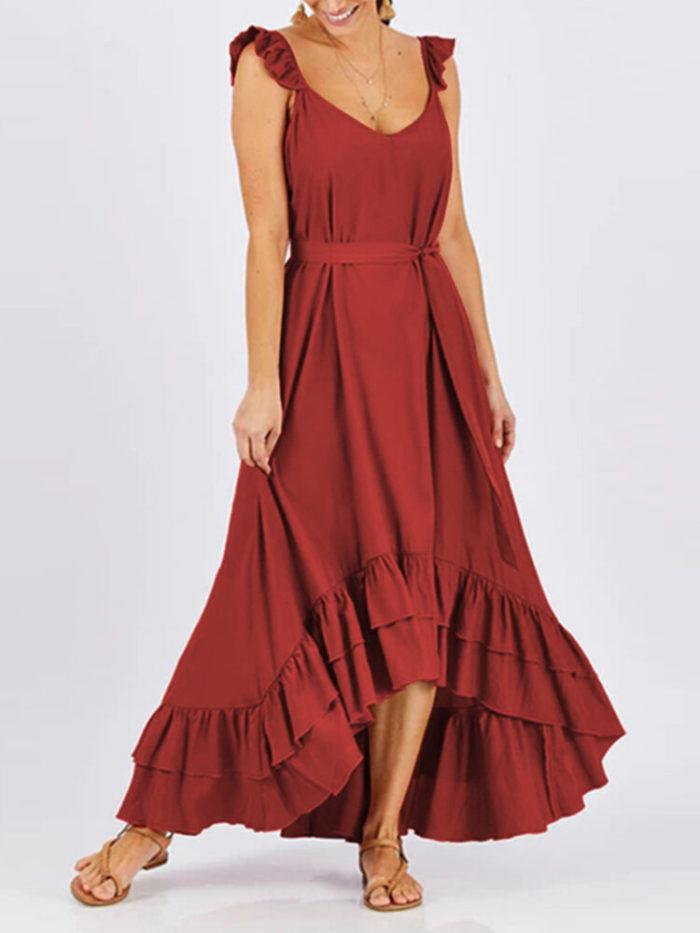Asymmetrical Ruffled Sleeveless Plus Size Dress