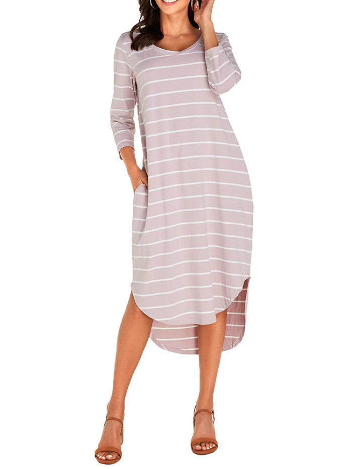 Asymmetrical Striped V-neck Plus Size Dress